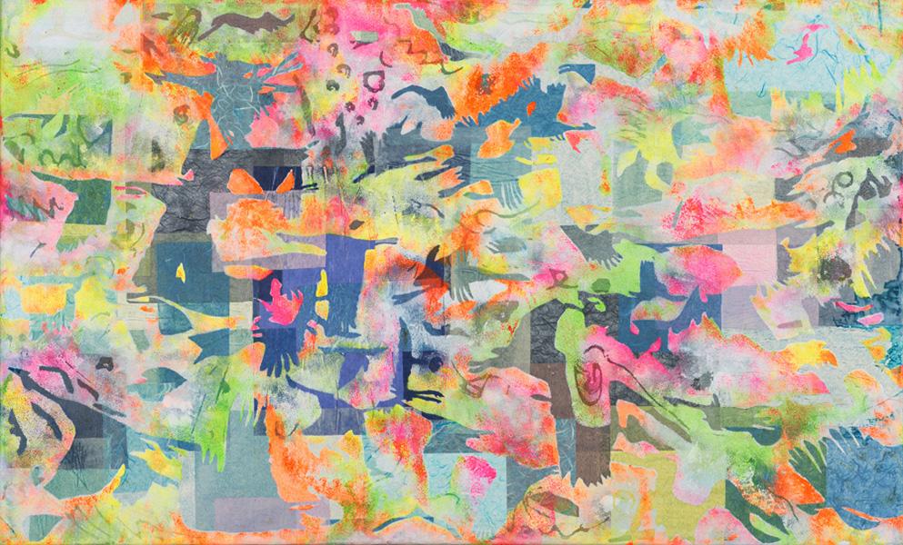 Vogelvlucht I, 70 x 90 cm, acrylverf, sjablonen, € 700,-