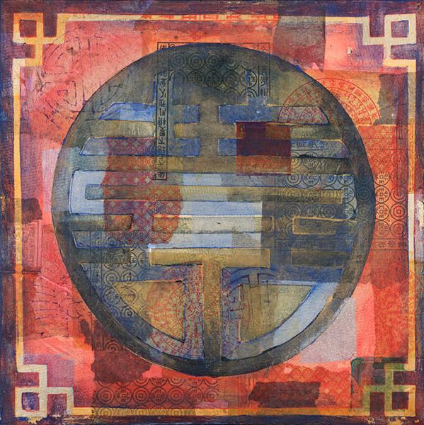 De Eeuwigheid, 50 x 50 cm, gemengde techniek op doek € 300,-