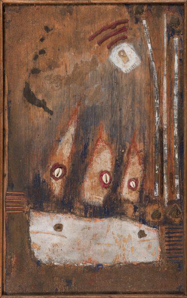 Chez le talisman, 39 x 62 cm, gemengde techniek op paneel, € 350,-