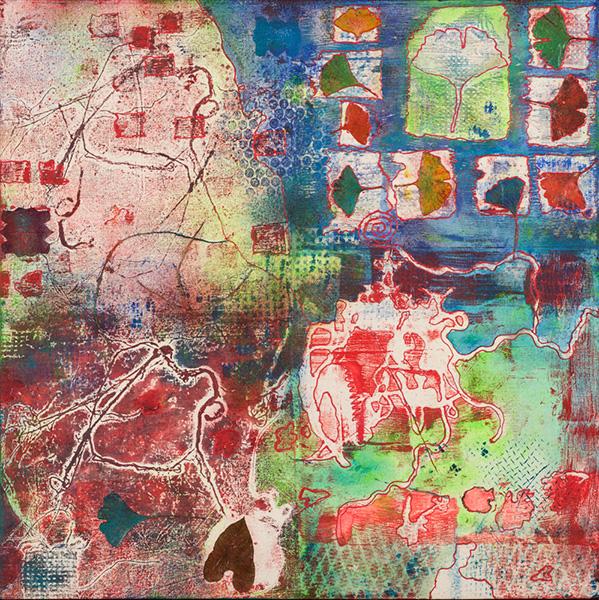 Nature III, 60 x 60 cm, gemengde techniek op doek, € 450,-