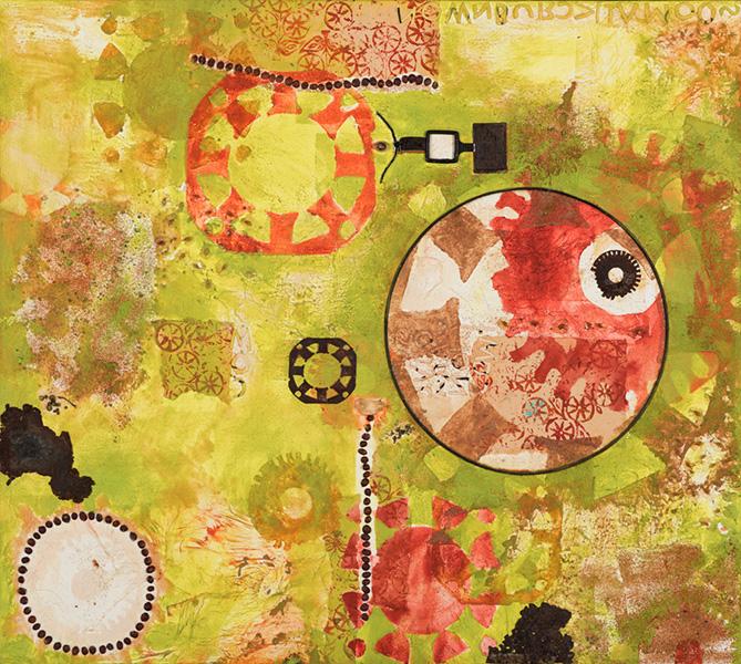 Circle of life, 80 x 90 cm, gemengde techniek op doek, € 850,-