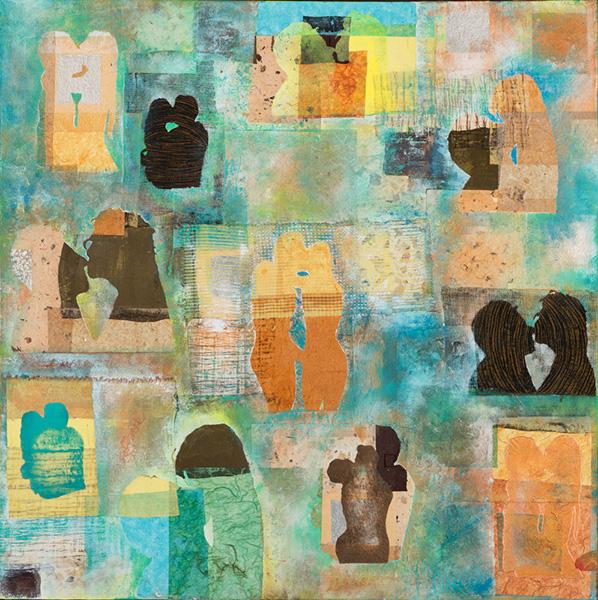 L'Amour I, 80 x 80 cm, gemengde techniek op doek, € 800,-