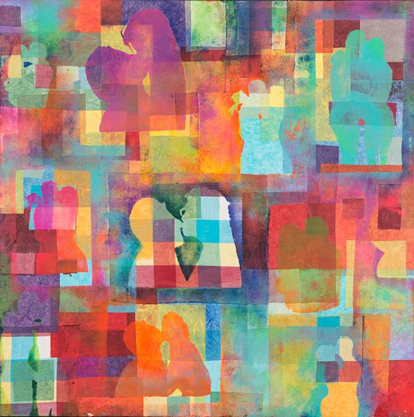 L'Amour II, 80 x 80 cm, gemengde techniek op doek, € 800,-