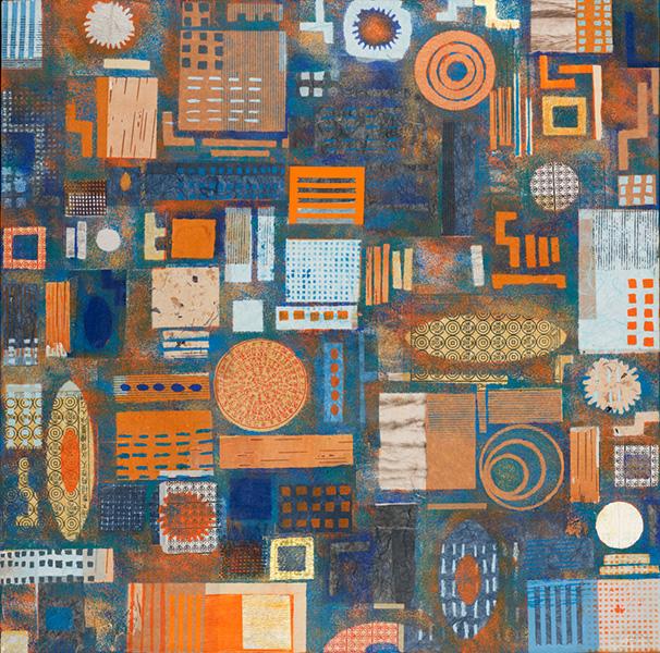 Cirkels en vierkanten, 80 x 80 cm, gemengde techniek op doek, € 800,-