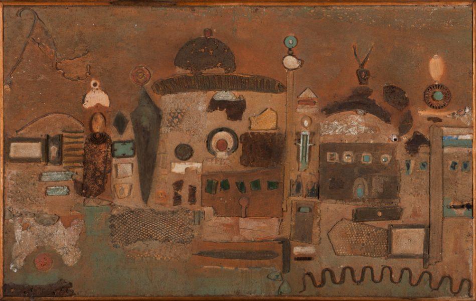 N'gor Village, 78 x 123 cm, gemengde techniek op paneel, € 1.250,-